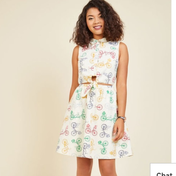 9361094238d0f Dresses   Skirts - Modcloth Tie Front Bicycle Print Dress - L